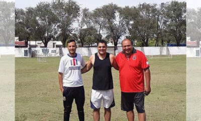 Joaquien Cristolfo y Marcos Castro, coordinador deportivo y director deportivo de Albertid, junto al presidente de Sarmiento Santiago Temple